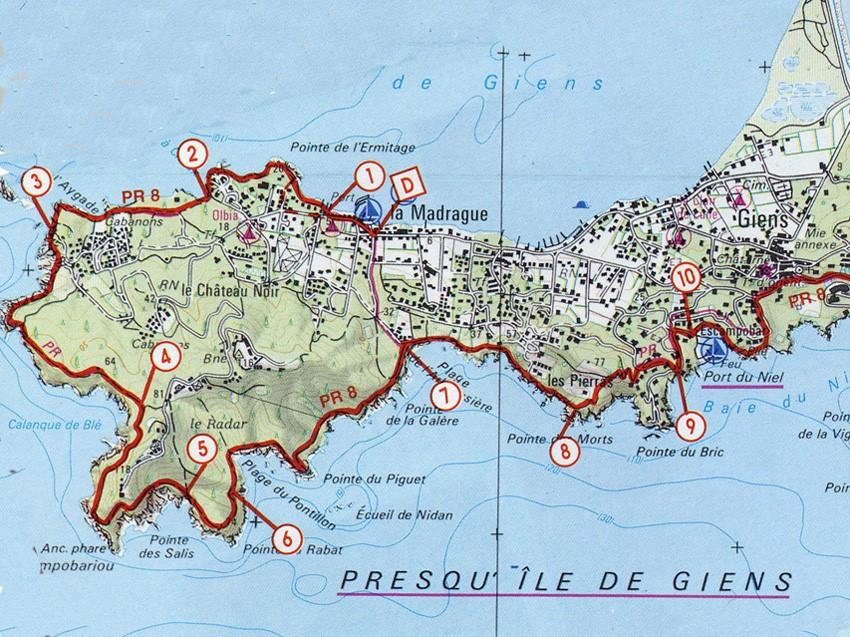Carte Marine Presqu'ile de Giens Presqu'ile de Giens à Hyères